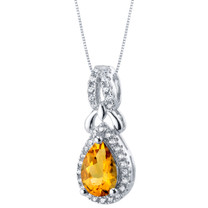Citrine Sterling Silver Regina Halo Pendant Necklace