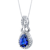 Created Blue Sapphire Sterling Silver Regina Halo Pendant Necklace