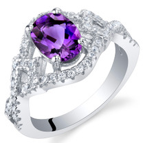 Amethyst Sterling Silver Lace Ring Sizes 5 to 9