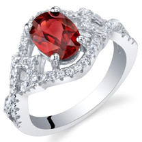 Garnet Sterling Silver Lace Ring Sizes 5 to 9