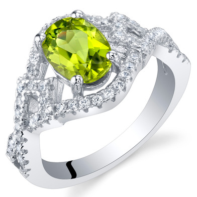 Peridot Sterling Silver Lace Ring Sizes 5 to 9