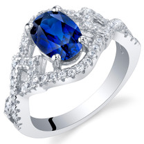 Created Blue Sapphire Sterling Silver Lace Ring Sizes 5 to 9