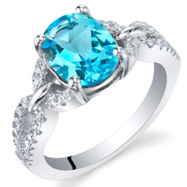Swiss Blue Topaz Sterling Silver Forever Ring Sizes 5 to 9