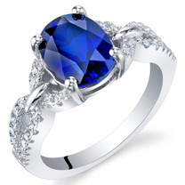 2.50 Carats Created Blue Sapphire Sterling Silver Forever Ring Sizes 5 to 9