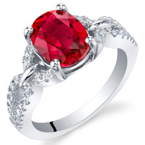 2.50 Carats Created Ruby Sterling Silver Forever Ring Sizes 5 to 9