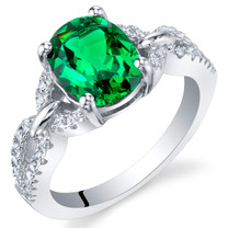 Simulated Emerald Sterling Silver Forever Ring Sizes 5 to 9