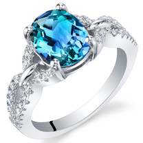 2 Carats Simulated Alexandrite Sterling Silver Forever Ring Sizes 5 to 9