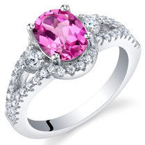 Created Pink Sapphire Sterling Silver Keepsake Ring Sizes 5 to 9