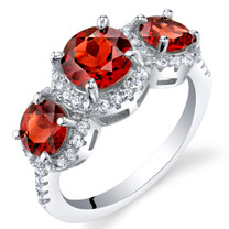 Garnet Sterling Silver 3 Stone Halo Ring Sizes 5 to 9