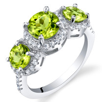 Peridot Sterling Silver 3 Stone Halo Ring Sizes 5 to 9