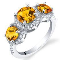 Citrine Sterling Silver 3 Stone Halo Ring Sizes 5 to 9