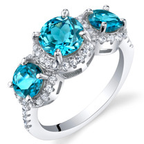 London Blue Topaz Sterling Silver 3 Stone Halo Ring Sizes 5 to 9