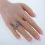 Swiss Blue Topaz Sterling Silver 3 Stone Halo Ring Sizes 5 to 9