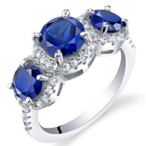 Created Blue Sapphire Sterling Silver 3 Stone Halo Ring Sizes 5 to 9