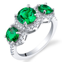 Simulated Emerald Sterling Silver 3 Stone Halo Ring Sizes 5 to 9