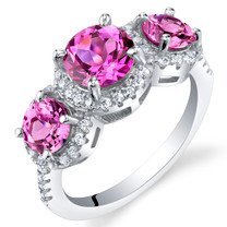 Created Pink Sapphire Sterling Silver 3 Stone Halo Ring Sizes 5 to 9