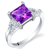 Amethyst Sterling Silver Sweetheart Ring Sizes 5 to 9