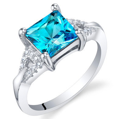 Swiss Blue Topaz Sterling Silver Sweetheart Ring Sizes 5 to 9