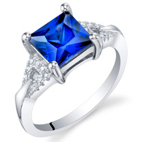 Created Blue Sapphire Sterling Silver Sweetheart Ring Sizes 5 to 9