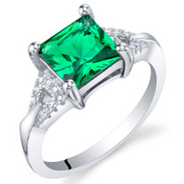 Simulated Emerald Sterling Silver Sweetheart Ring Sizes 5 to 9