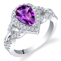 Amethyst Sterling Silver Halo Crest Ring Sizes 5 to 9