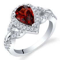 Garnet Sterling Silver Halo Crest Ring Sizes 5 to 9