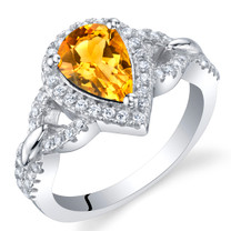 Citrine Sterling Silver Halo Crest Ring Sizes 5 to 9
