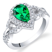 Simulated Emerald Sterling Silver Halo Crest Ring Sizes 5 to 9
