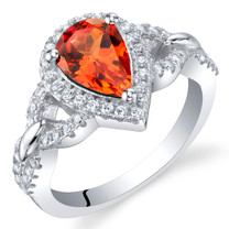 Created Padparadscha Sapphire Sterling Silver Halo Crest Ring Sizes 5 to 9