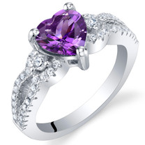 Amethyst Sterling Silver Heart Soulmate Ring Sizes 5 to 9
