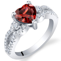 Garnet Sterling Silver Heart Soulmate Ring Sizes 5 to 9