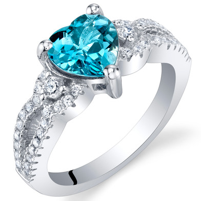 London Blue Topaz Sterling Silver Heart Soulmate Ring Sizes 5 to 9