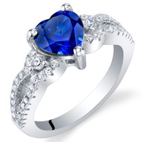 Created Blue Sapphire Sterling Silver Heart Soulmate Ring Sizes 5 to 9