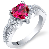 Created Ruby Sterling Silver Heart Soulmate Ring Sizes 5 to 9