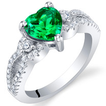 Simulated Emerald Sterling Silver Heart Soulmate Ring Sizes 5 to 9