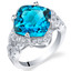 6 Carat Swiss Blue Topaz Sterling Silver Cushion Halo Ring Sizes 5 to 9
