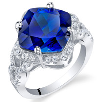 7.50 Carat Created Blue Sapphire Sterling Silver Cushion Halo Ring Sizes 5 to 9