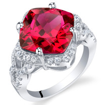 7.50 Carat Created Ruby Sterling Silver Cushion Halo Ring Sizes 5 to 9