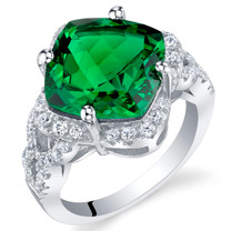 7.50 Carat Simulated Emerald Sterling Silver Cushion Halo Ring Sizes 5 to 9