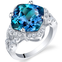 7.50 Carat Simulated Alexandrite Sterling Silver Cushion Halo Ring Sizes 5 to 9