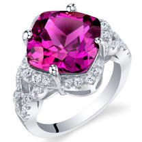 7.50 Carat Created Purple Sapphire Sterling Silver Cushion Halo Ring Sizes 5 to 9