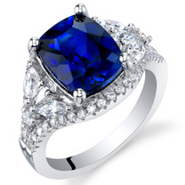 4 Carat Created Blue Sapphire Sterling Silver Legacy Ring Sizes 5 to 9