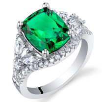 4 Carat Simulated Emerald Sterling Silver Legacy Ring Sizes 5 to 9