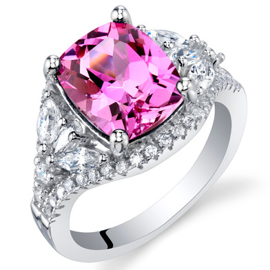 4 Carat Created Pink Sapphire Sterling Silver Legacy Ring Sizes 5 to 9