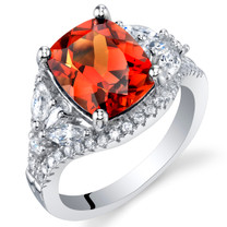 3.75 Carat Created Padparadscha Sapphire Sterling Silver Legacy Ring Sizes 5 to 9