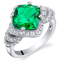 3.50 Carat Simulated Emerald Sterling Silver Tier Halo Ring Sizes 5 to 9