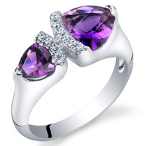 Amethyst Sterling Silver Trillion Cut Two-Stone Ring Sizes 5 to 9