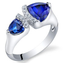 Created Blue Sapphire Sterling Silver Trillion Cut Two-Stone Ring Sizes 5 to 9