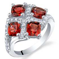 2.75 Carat Garnet Sterling Silver Quad Ring Sizes 5 to 9