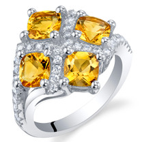 2.50 Carat Citrine Sterling Silver Quad Ring Sizes 5 to 9